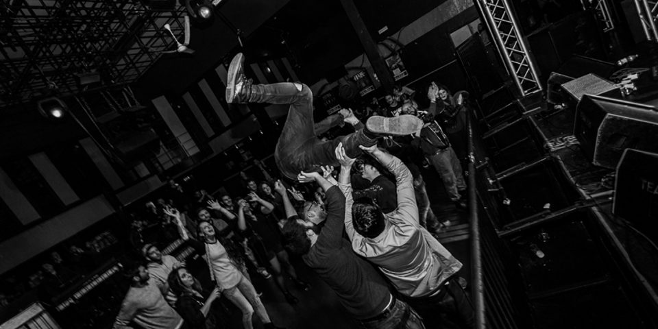 Several Union live picture stage diving release party Rising Sun at Vidia Club, Cesena